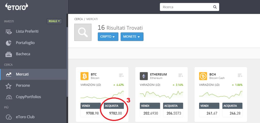 Come comprare Bitcoin su eToro